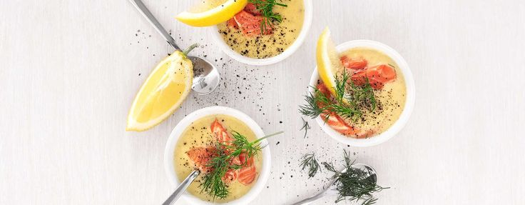 Cauliflower soup with trout and dill