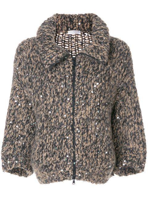 Shop Brunello Cucinelli oversized knit jacket.