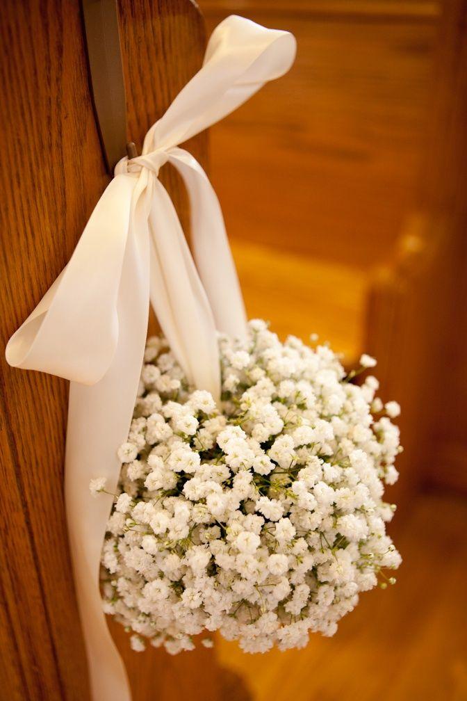 Gypsophila Pomander Aisle Flowers- a striking alternative to jam jar pew ends for a narrow aisle