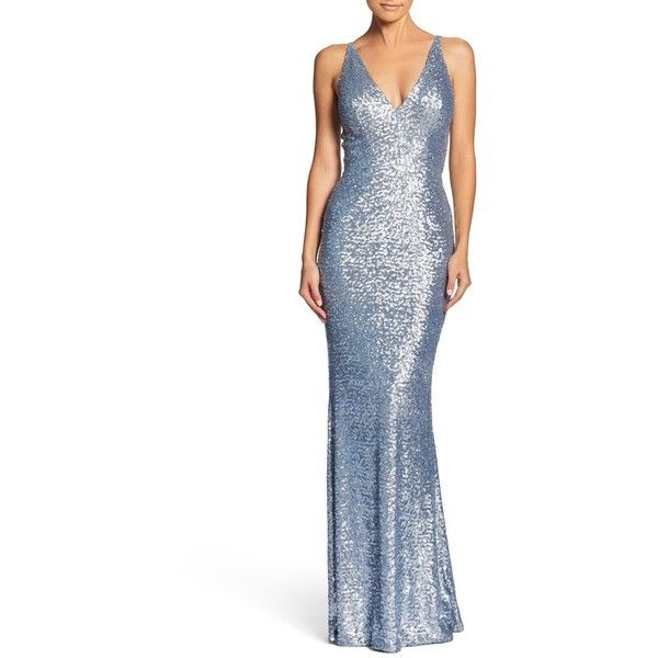 Women's Dress The Population Harper Mermaid Gown (€250) ❤ liked on Polyvore featuring dresses, gowns, ice blue, white mermaid dress, white satin gown, blue evening dresses, white dress and white mermaid gown