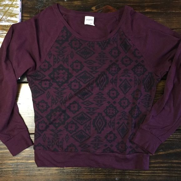 Pink by VS Aztec long sleeve top Adorable Maroon and black Aztec print long sleeve lounge top.  In excellent condition without any signs of wear.  I will lower to $15 to hopefully get you a discount on shipping! Xoxo PINK Victoria's Secret Tops