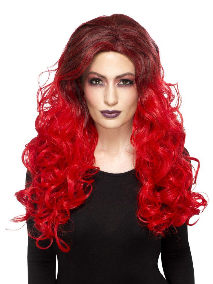 Pirun peruukki deluxe. Liukuvärjätyt peruukin hiukset ovat päältä hieman tummemmat ja latvoista tulenpunaiset.
