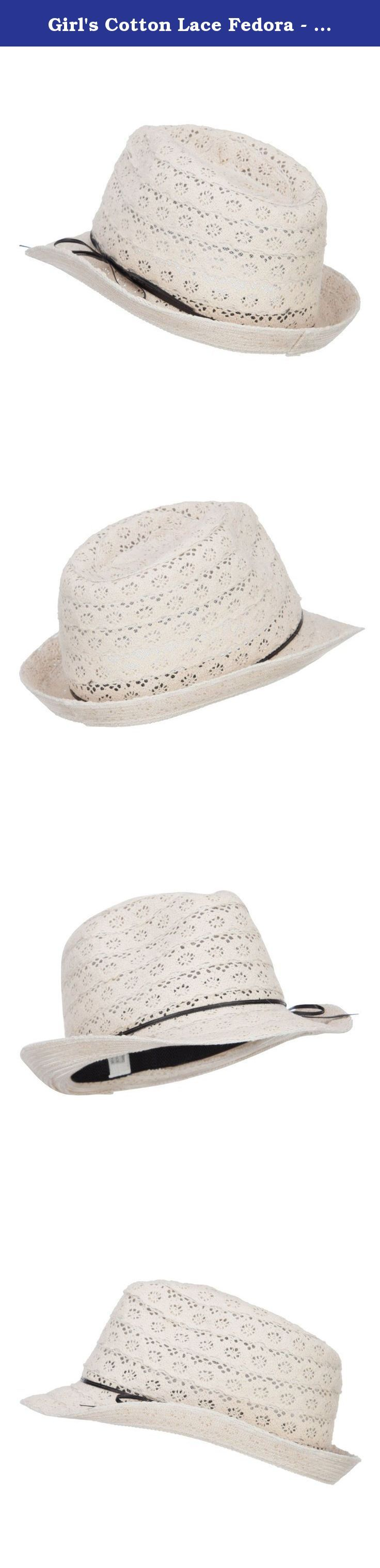 Girl's Cotton Lace Fedora - Cream OSFM. Lovely laced fedora hat for your little girls. Pinched top crown. A black ribbon tie is accented around the crown. Back brim is turned upward. Easy to pack. Our girl's laced fedora is great for vacation, beach, picnic for your children. Spring and Summer. 9.5(W) X 10.5(L) X 5(H)inches. Flexible, cool and lightweight material. Available in different colors and styles.