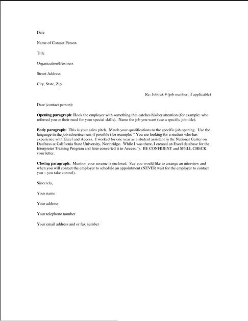 Cover Letter For Resume Examples For Free