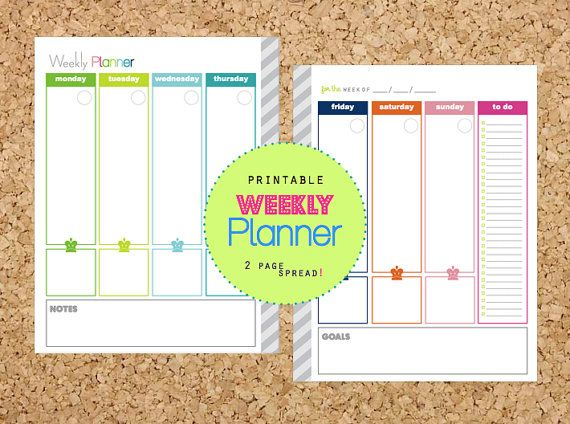 Weekly Planner 2 page spread PDF Printable Pages - INSTANT DOWNLOAD - with Menu Planning for Daily Planner or Home Binder