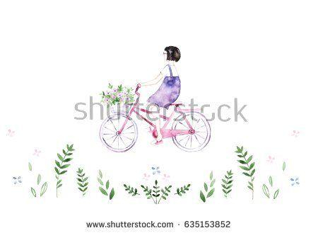 Cute girl on bike  @knyshksenya #illustration #illustrator #ksenyaknysh #watercolor #girl #flowers #nature #illustration #art