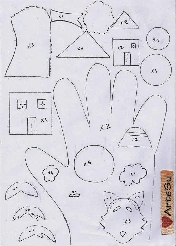 Arte De Fazer   Decoração e Artesanato: Dedoches   Luva dos três porquinhos
