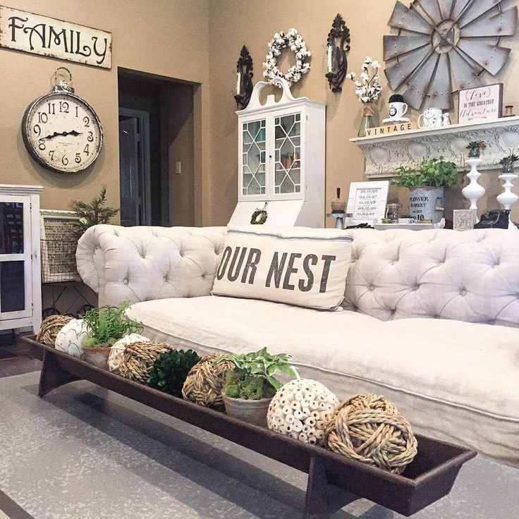 Tufted White Couch and French Linen Pillow