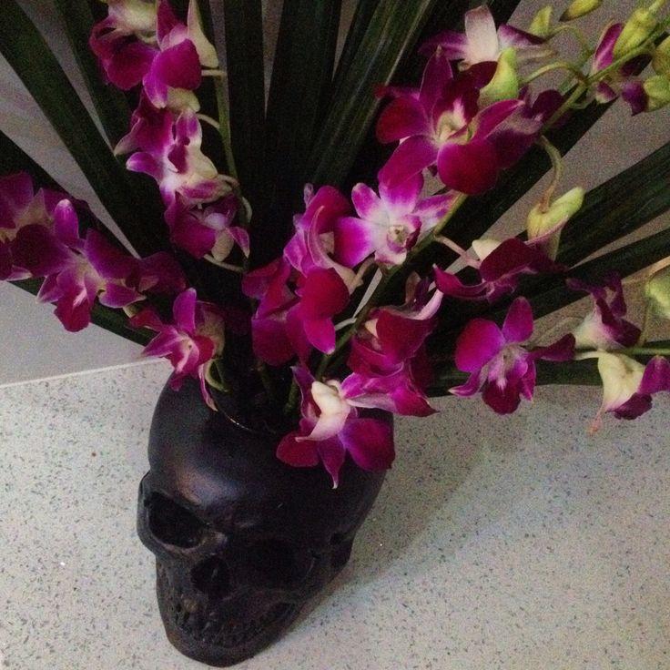 Skull vase, flowers, orchids, rockabilly skull -Kreepy Kulture -