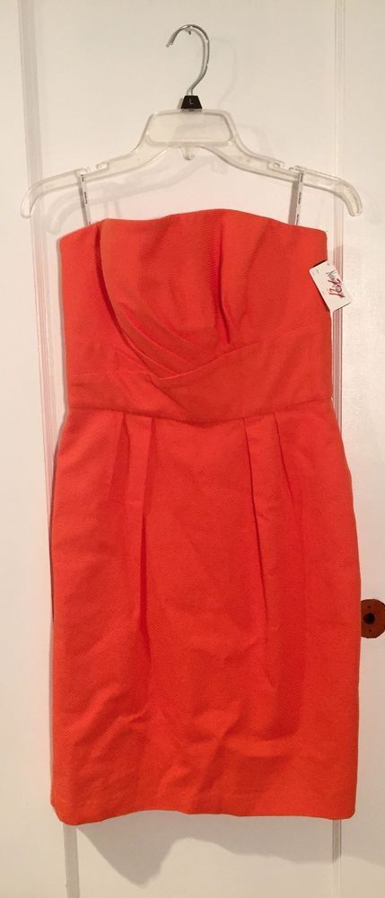 NWT Neimun Marcus Kay Unger Orange Strapless Dress Retail $290 Size 8 #KayUnger