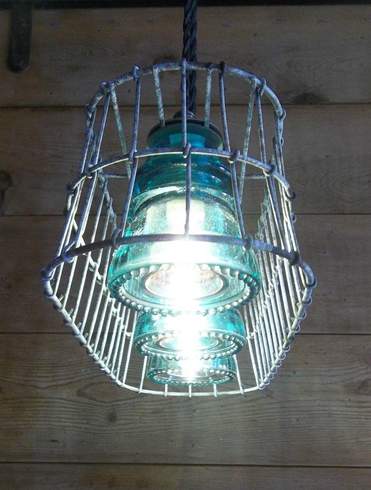 Wire Basket Milk Crate Glass Insulator Pendant Light Fixture Primitive Rustic | eBay