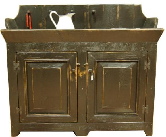 The size and beauty of this country rustic dry sink will draw a lot of attention from your family and friends.  There are pegs across the back for hang your treasures along with a small storage space with a flip top, on the bottom there are two door for extra storage.