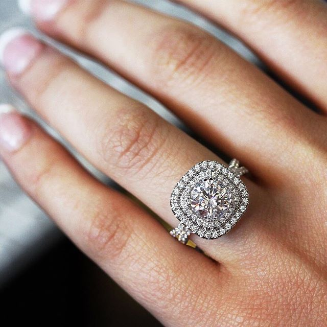 Cushion shaped double halo engagement ring by Uneek