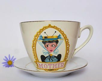 Vintage Mother Tea Cup and Saucer ~ 1950s Mis-Matched China ~ Mid Century Vintage Kitchen ~ High Tea ~ Tea Party ~ Kitsch Decor