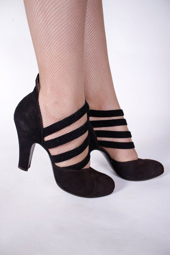 1940s Vintage Shoes Wickedly Sexy Black Suede Strappy with <3 from JDzigner www.jdzigner.com