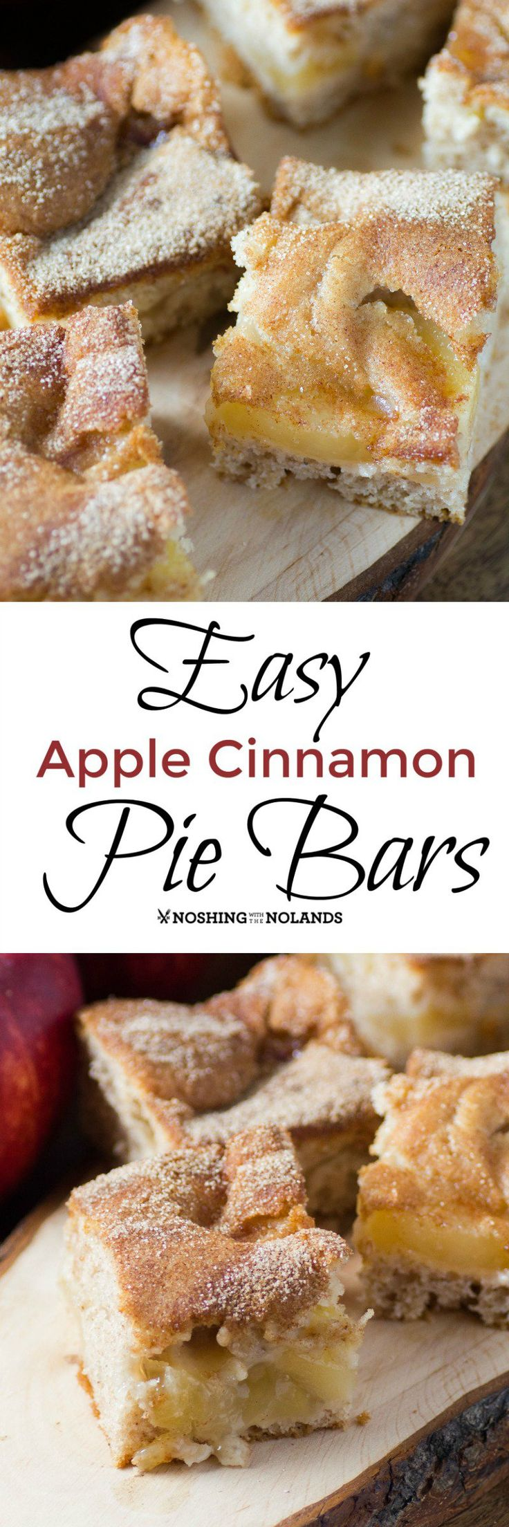 Easy Apple Cinnamon Pie Bars by Noshing With The Nolands are simple to make and bring you the scrumptious flavors of fall.