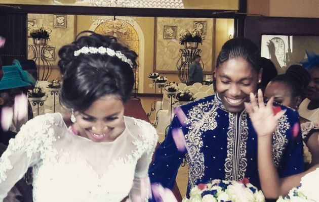 South African Olympic 800-metre champion Caster Semenya married her long-term partner