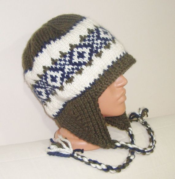 Hand Knitted Hat Mens Hat  Earflap Hat in Grey Blue by earflaphats, $39.99
