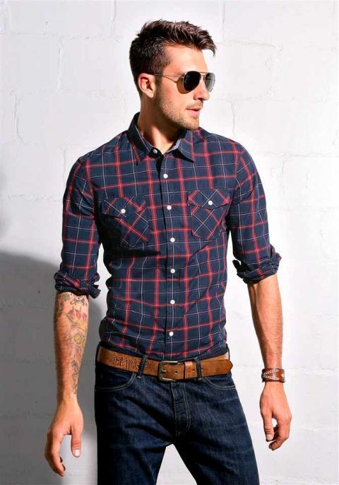 fitted blue/red plaid shirt. jeans. leather belt. aviator shades. watch. cool. comfortable. sharp. southern. style.