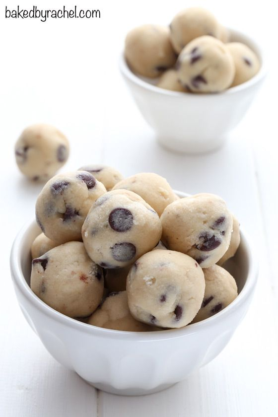 Homemade egg-free chocolate chip cookie dough recipe from @bakedbyrachel