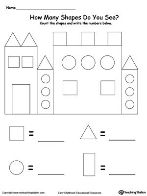 recognize and count the shapes in the castle school preschool math preschool worksheets. Black Bedroom Furniture Sets. Home Design Ideas