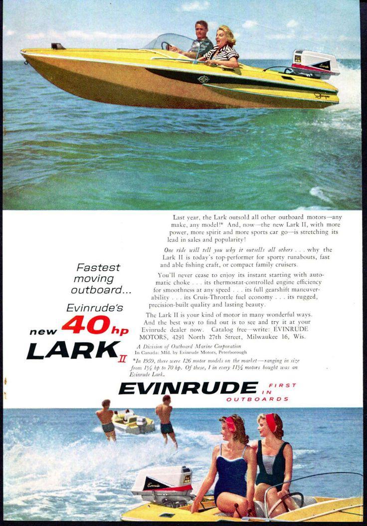 1960 Evinrude Outboard Motor Ad Outboard, Boat, Vintage