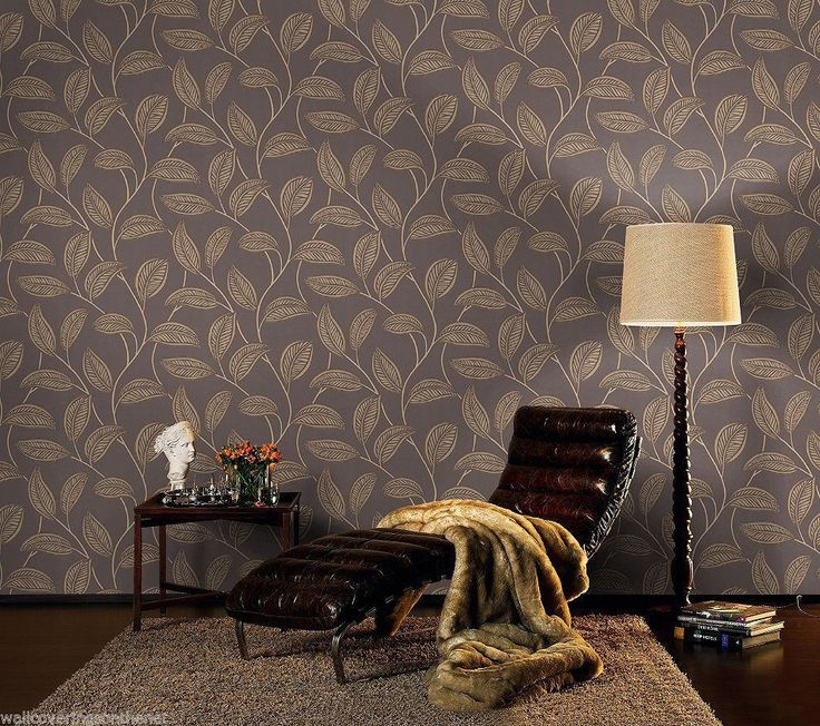 Stunning,Brown Cream & Gold, Leaf Design, Paste the Wall Wallpaper with Glitter
