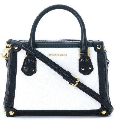 MICHAEL KORS Borsa A Mano Michael Kors Taryn Sm Satchel In Pelle Bianca E Nera. #michaelkors #bags #hand bags #satchel
