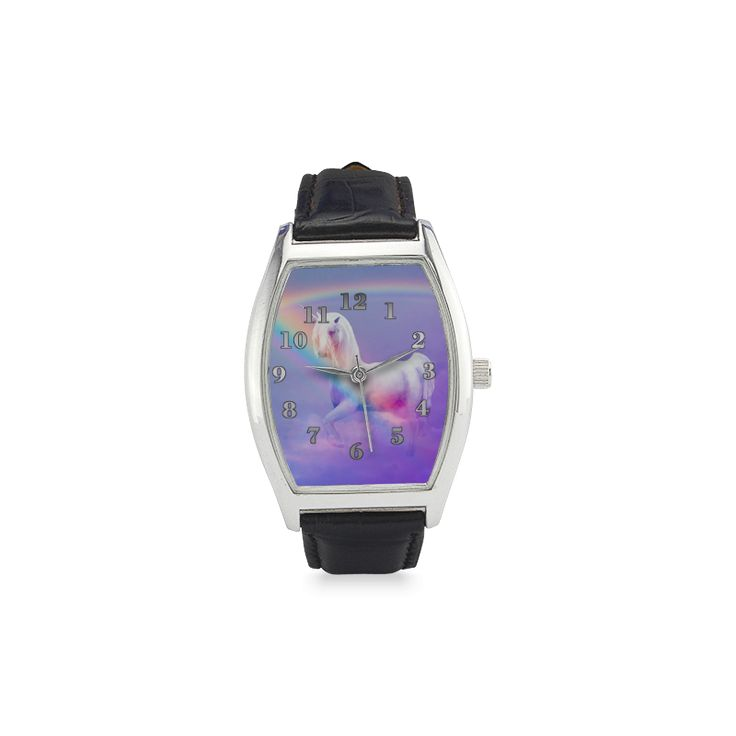 Unicorn and Rainbow Barrel Style Leather Strap Watch(Model 207)
