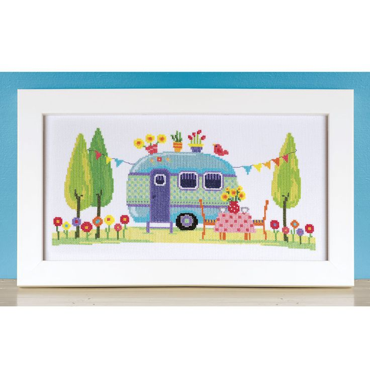Happy Camper Traveling Home Counted Cross Stitch Kit - Cross Stitch, Needlepoint, Embroidery Kits – Tools and Supplies