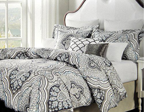 Nicole Miller Home Duvet Cover 3 Piece Set Paisley Moroccan Blue Gray Taupe King