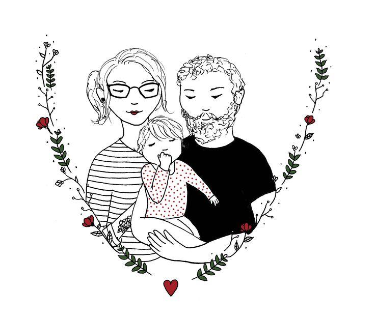 Persoonlijke illustratie: Familie portret door Lot Bouwes