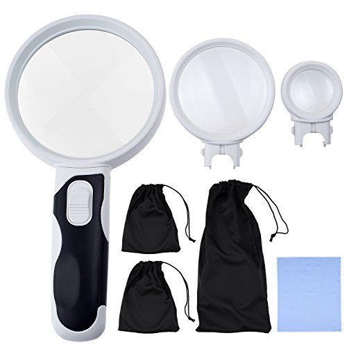 KARE AND KIND Interchangeable Illuminated Dual Power LED Handheld Magnifying Glass Set  25X 5X and 16X  Magnifier for Senior Reading Crafts Computer Repair and Jewelry Loupe16x 5x 25x * Details can be found by clicking on the image.