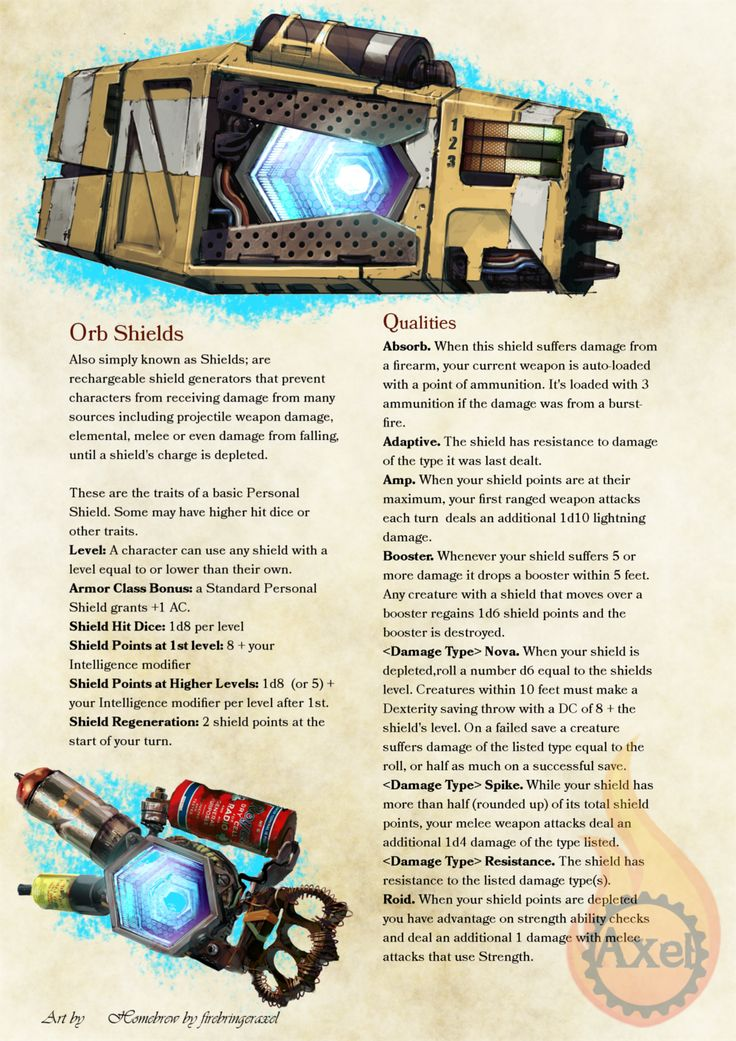 Orb Shield rules for Bunkers and Badasses! Manufacturer rules will modify these later. Homebrewed for Dungeons and Dragons 5th Edition by Me. Artwork is all from the Borderlands games. PDF
