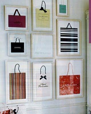 Framed shopping bags as art: Wall Art, Frames Shops Bags, Diy'S, Cute Ideas, Decoration Idea, Shopping, Dresses Rooms, Walks In Closet, Girls Rooms