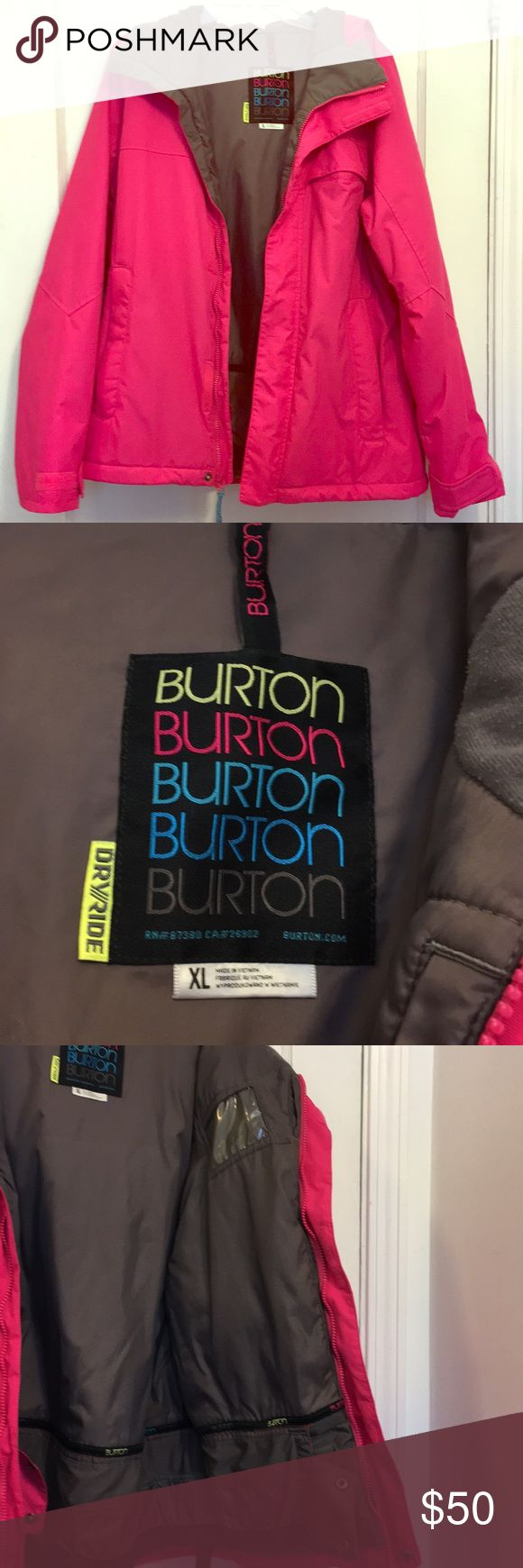 Burton Pink DryRide Ski/Snowboard Jacket EUC Beautiful Burton hot pink with dark gray lining DryRide snow jacket in EUC. Pretty much perfect, only worn a few times and looks brand new. Inside ID pocket. Excellent quality, very warm, just didn't get any use in my mom's closet. Burton Jackets & Coats Puffers