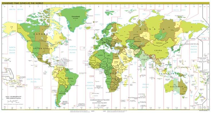 Husos horarios del mundo y la hora en las diferentes zonas geográficas.