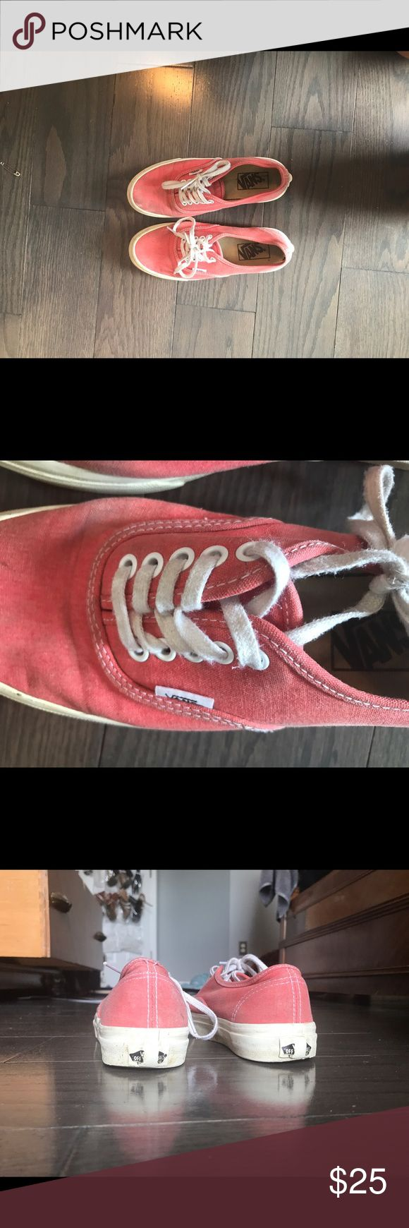Faded coral vans Got these several years ago and haven't worn them very often. They're a faded coral pink color and they've been worn but they're in pretty good condition. Originally $90! Vans Shoes
