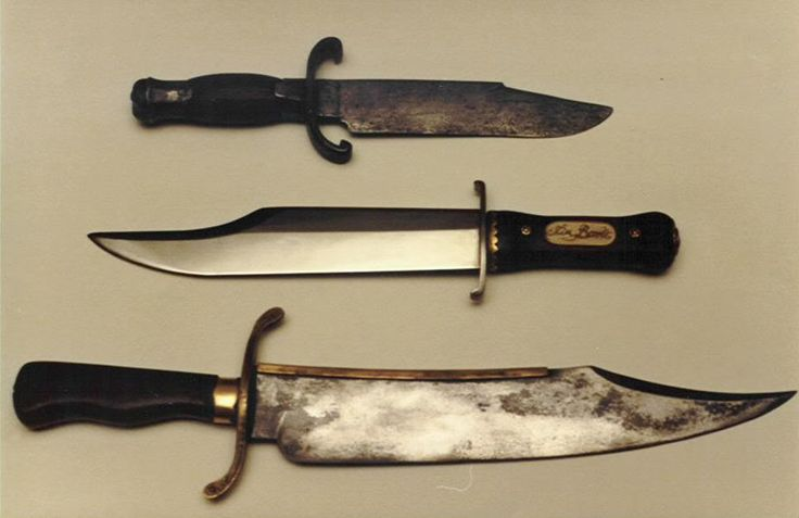 """'Alamo"""" Bowie Knives - the """"Bart Moore"""" Bowie (top); the """"Iron Mistress"""" - used by Alan Ladd in the 'Iron Mistress' and Richard Widmark in 'The Alamo' (middle) and the """"Musso"""" bowie           (bottom). Both the Bart Moore and Musso knives are alleged to possibly be Jim Bowie's actual knife captured by Mexican soldiers at the Alamo, March 6, 1836"""