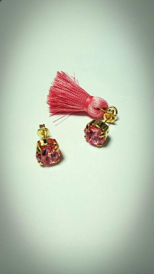 tassel pierced earrings...coral pink...*
