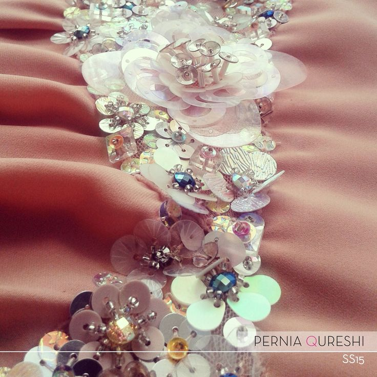 Pernia Qureshi | Iridescent sequins and bead embroidery