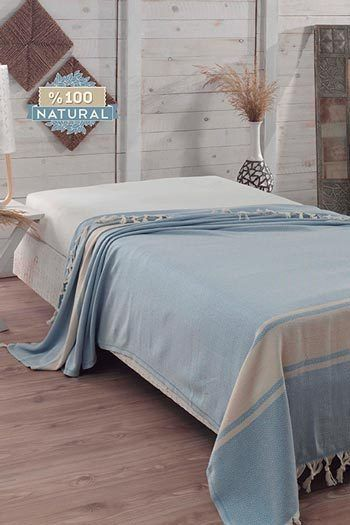 Babakék pamut ágytakaró