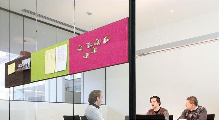 BuzziBoard magnetisk akustisk opslagstavle. Magnetic acoustic bulletin board.