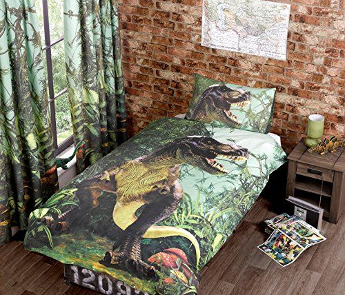 Kids' Duvet Covers - TYRANNOSAURUS REX TREX DINOSAUR GREEN BROWN USA TWIN 135CM X 200CM  UK SINGLE COTTON BLEND KIDS DUVET COMFORTER COVER *** Click on the image for additional details.