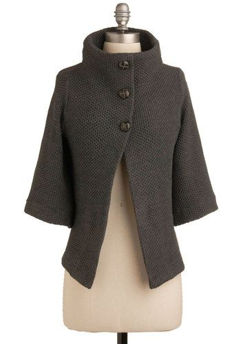 Corner Coffee Shop Cardigan - Solid, Buttons, Knitted, Casual, 3/4 Sleeve, Fall, Winter, Show On Featured Sale, Grey, Mid-length, Scholastic/Collegiate, Best Seller, Basic
