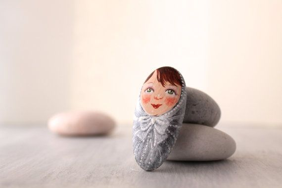 Sweet baby Painted stone.painting pebbles. painting by sabiesabi