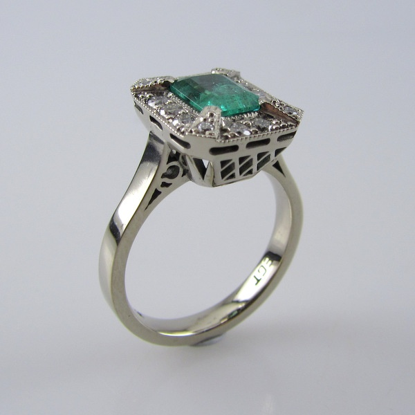 18ct White Gold Emerald and Diamond Ring (CAD) | Geoff Taylor Goldsmith
