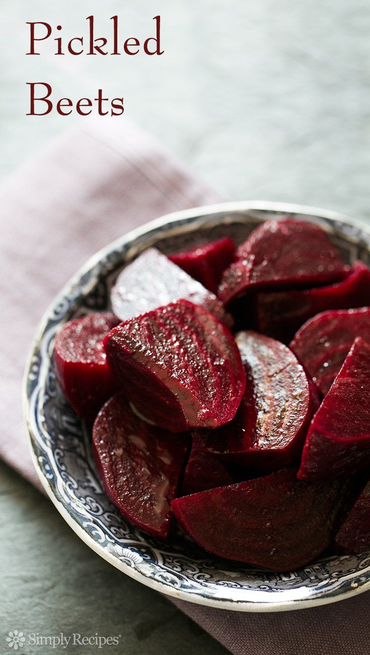 Pickled Beets ~ A midwestern classic—pickled beets! Our favorite refrigerator pickled beets, roasted or boiled beets, marinated in a cider vinegar vinaigrette. ~ SimplyRecipes.com