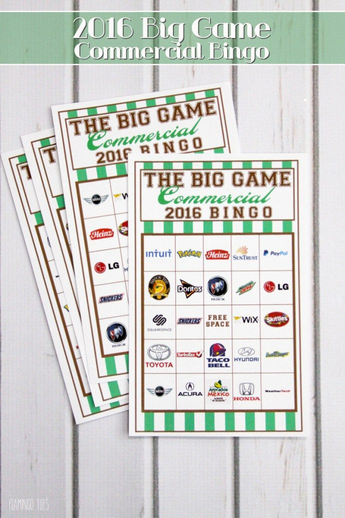 Super Bowl Commercial Bingo 2016 - Play Bingo as you watch the commercials!! This is so fun and a great way to entertain the kids too!