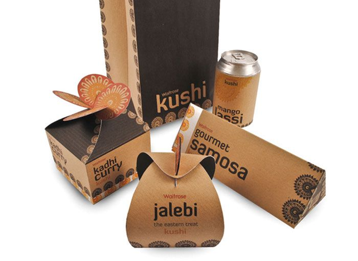 Kushi  Indian gourmet packaging range for Waitrose consisting of Samosa, Kadhi curry, Jalebi, and Mango lassi.